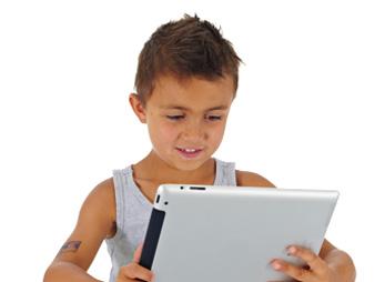 boy play with ipad